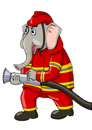 Cartoon illustration of an elephant as a firefighter  Vector