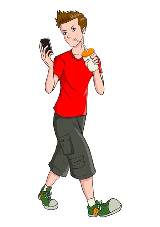 Cartoon illustration of a teenager holding a cellular phone  Vector