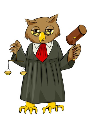 Cartoon illustration of an owl as a judge  Vector