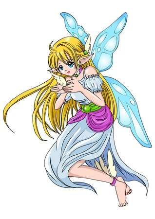 manga girl: Cartoon illustration of a pixie