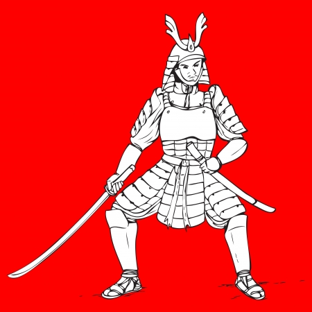 warrior pose: Hand drawn illustration of a samurai