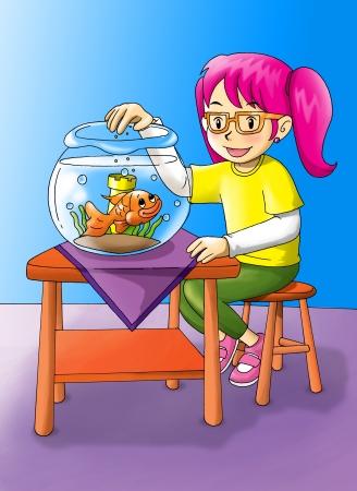 Cartoon illustration of a girl was feeding the goldfish Stock Illustration - 15323519