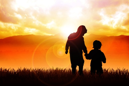 morning walk: Silhouette illustration of two kids walking at the outdoor