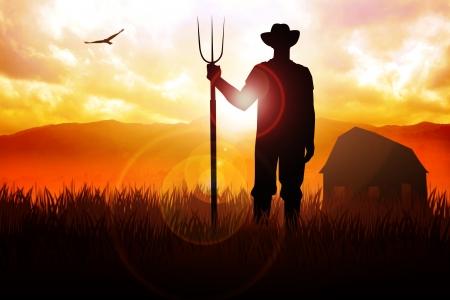 granjero: Silueta de la ilustración de un granjero que sostiene un tridente