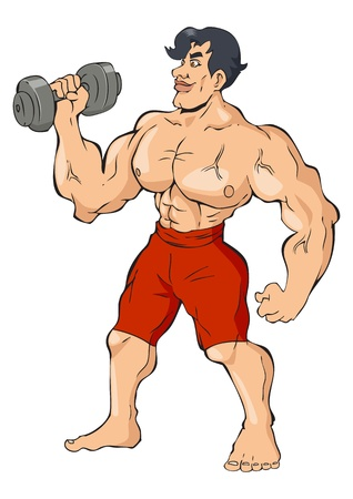 Cartoon illustration of a muscular man holding a dumbbell Vector