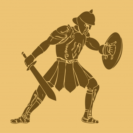ancient soldiers: Gladiator in carved style illustration