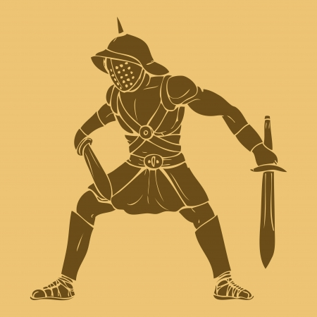 ancient roman: Gladiator in carved style illustration