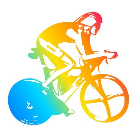 triathlon: Pop art illustration of a cyclist