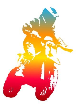 motor race: Pop art illustratie van een fietser