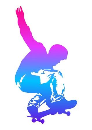 Pop art illustration of a skateboarder