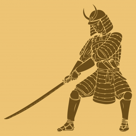 warrior pose: A samurai in carved style illustration