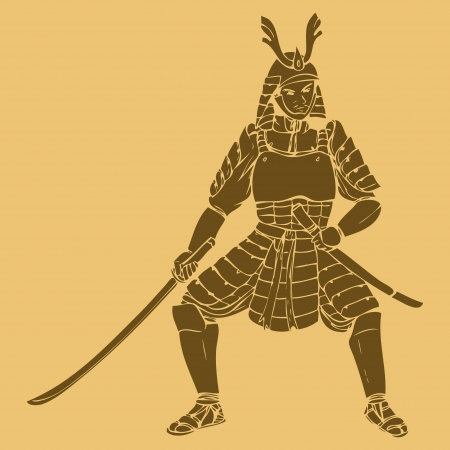 ancient warrior: A samurai in carved style illustration