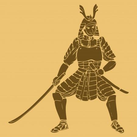 guerrero: Un samurai tallada en estilo ilustraci�n Vectores