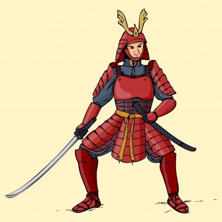 Illustration eines gepanzerten Samurai