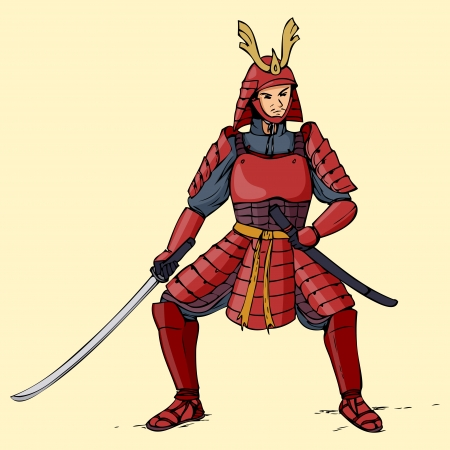 warrior pose: Illustration of an armored samurai
