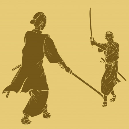 duel: Samurai in dual stance, engraved style illustration Illustration