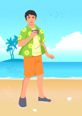 Illustration of a male figure in beach shirt holding a camera