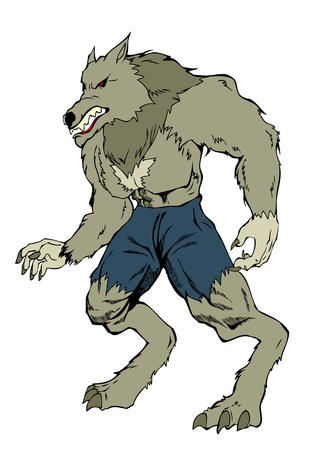 loup garou: Cartoon illustration d'un loup-garou
