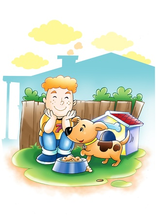 Cartoon illustration of a boy with his dog  illustration