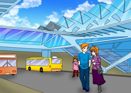 Cartoon illustration of a bus station illustration