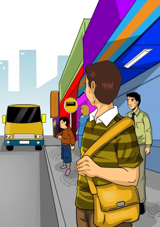 urban street: Illustration of people waiting a bus at bus stop