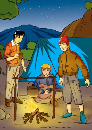 adventurer: Illustration of men camping at the open air