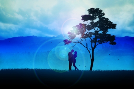 Silhouette illustration of a couples under the tree illustration