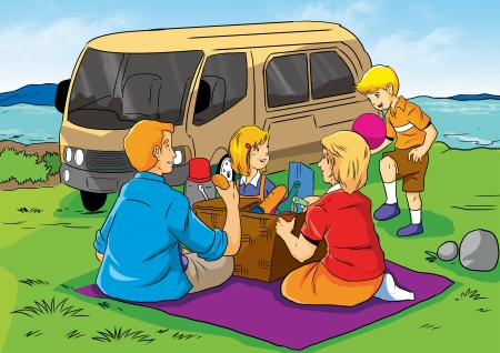 family vacations: Illustration of a family having a picnic