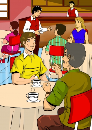 Illustration of people in restaurant or cafe illustration