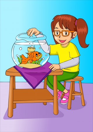 gold fish bowl: Cartoon illustration of a girl was feeding the goldfish