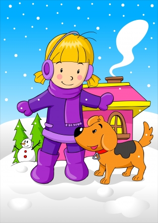 outside the house: Cartoon illustration of a girl with her dog during wintertime