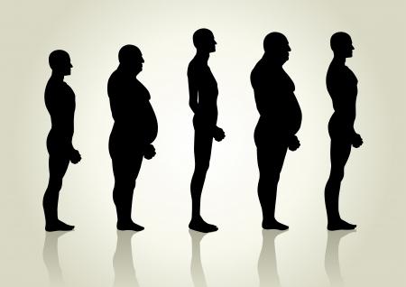 obesidad: Ilustraci�n de la silueta de los hombres figura de la vista lateral