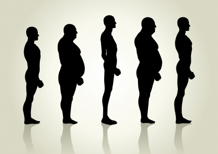 fat to thin: Silhouette illustration of men figure from side view