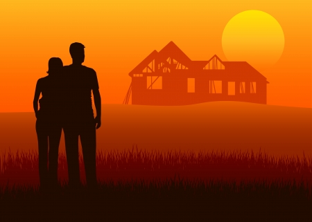 Illustration of young couples looking to house construction at the distance