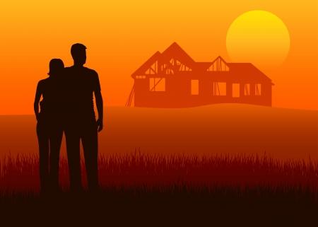 planificaci�n familiar: Ilustraci�n de las parejas j�venes que buscan la construcci�n de viviendas en la distancia Vectores