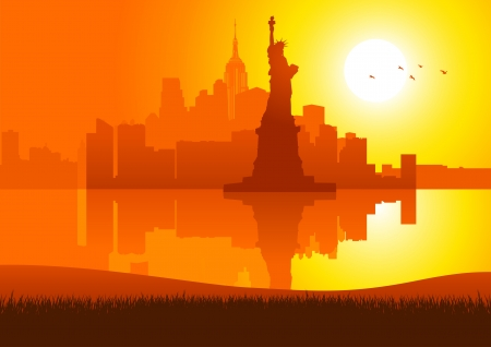 An illustration of New York City skyline at sunset Ilustração