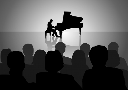 concert grand: Silhouette illustration of people watching piano recital