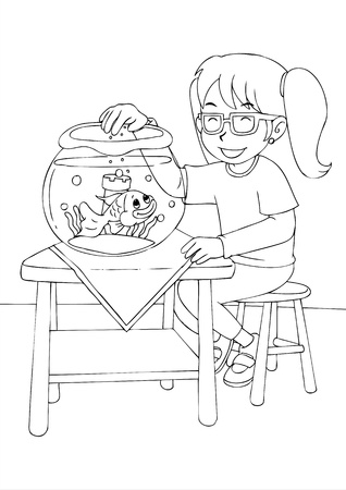 gold fish bowl: Outline illustration of a girl was feeding the goldfish