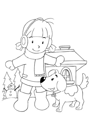 winter time: Outline illustration of a girl playing with dog Illustration