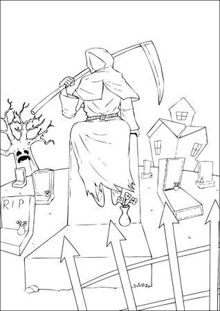 gothic design: Outline illustration of the grim reaper
