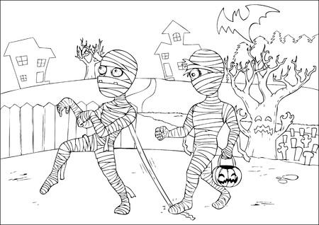 haloween: Outline drawing of mummies