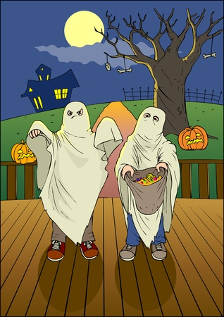 haloween: Illustration of children with candy bag at Halloween night