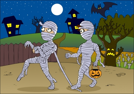 the cemetery: Cartoon illustration of mummies Illustration