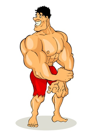 Cartoon illustration of a muscular man figure  Vector