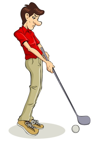 Caricature illustration of a golfer  Vector