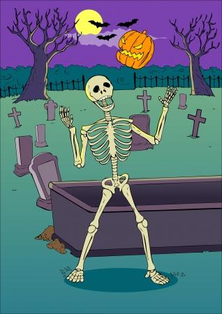 dead man: Cartoon illustration of a skeleton playing with pumpkin on graveyard  Illustration