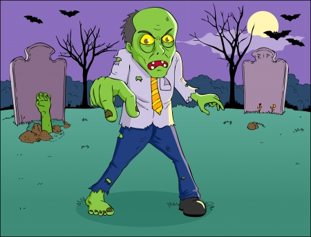 Cartoon illustration of a zombie on graveyard  Vector