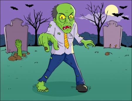 tombes: Illustration de bande dessin�e d'un zombie sur le cimeti�re