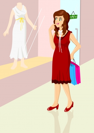 browsing: Illustration of a woman are window shopping  Illustration