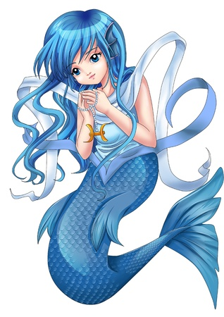 manga style: Manga style illustration of zodiac symbol, Pisces  Stock Photo